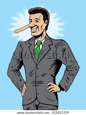 Lying salesman or businessman - stock photo