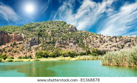Lykian rock tombs. Dalyan,Turkey. - stock photo