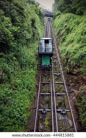 LYNTON, DEVON, UK. JUNE 19, 2016 : Showing the Lynton and Lynmouth Cliff Railway. A water-powered funicular railway joining the towns of Lynton and Lynmouth, Devon, England. - stock photo