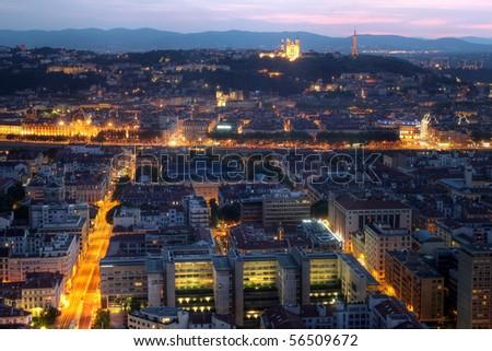 Lyon aerial at night, France - stock photo