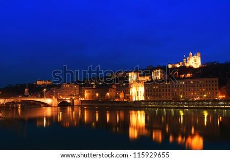 Lyon at night - stock photo