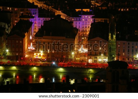 lyon by night in france - stock photo