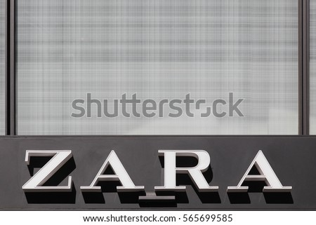 Lyon, France - August 15, 2016: Zara logo on a wall. Zara is a Spanish clothing and accessories retailer based in Arteixo, Spain