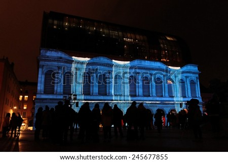 LYON, FRANCE, December 5, 2014 : Festival of lights of Lyon is the main place of creation of lighting engineers, designers, visual artists. More than 4 millions people visit the event each year.
