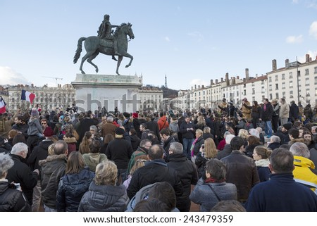 LYON, FRANCE - JANUARY 11, 2015: Anti terrorism protest after 3 days terrorist attacks with people dead in Paris France, European Capital  - stock photo