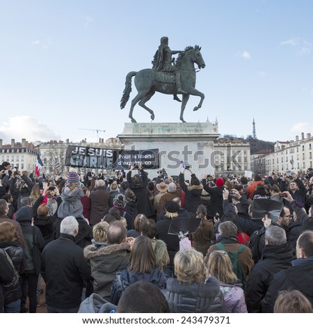 LYON, FRANCE - JANUARY 11, 2015: Anti terrorism protest after 3 days terrorist attacks with people dead in Paris France, European Capital