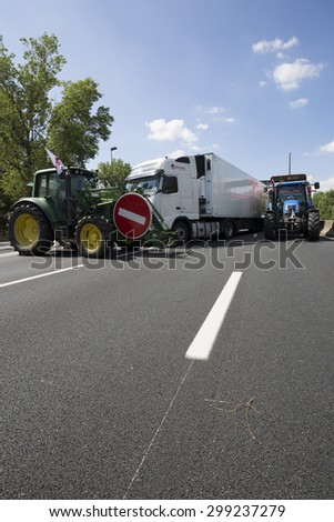 LYON, FRANCE - JULY 23, 2015 : French farmers protest on July 23, 2015 in Lyon. Farmers are demanding better purchase price of their products with great stores.