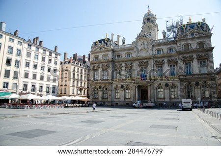 LYON, FRANCE, 24 JULY, 2013: The famous Terreaux square in Lyon city