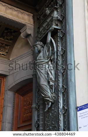 LYON, FRANCE - MAY 24, 2015: This is an Angel on the front door of the Basilica of Notre Dame de Fourviere.