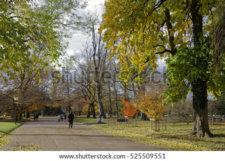 LYON, FRANCE, November 19, 2016 : Fall in Parc de la Tete d'Or. The park is one of the greatest urban park in Europe.