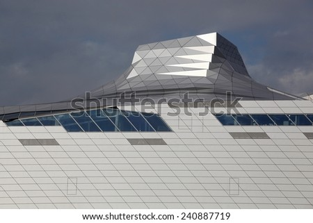 Lyon, France - October 14, 2014: The Musee des Confluences is a science center and anthropology museum which opened on 20 December 2014 in the second arrondissement of Lyon, France - stock photo