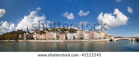 Lyon, France - Panoramic View of Vieux Lyon, Saone River and Fourviere. Colorful Houses. Clear Blue Sky. - stock photo