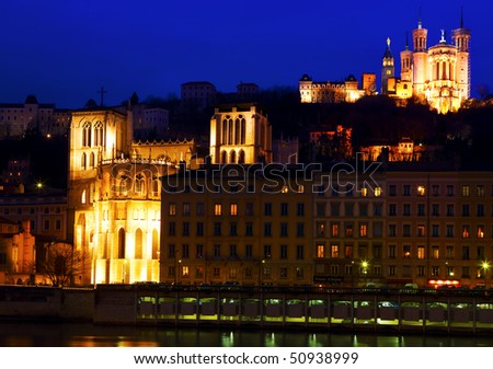 Lyon panorama at sunset - stock photo