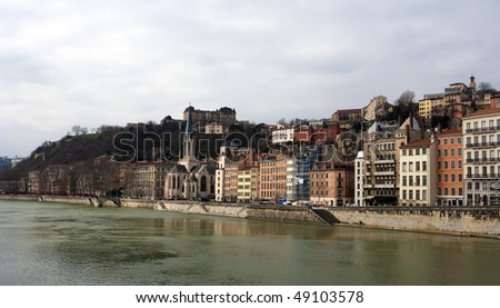 Lyon panorama from the Saone river