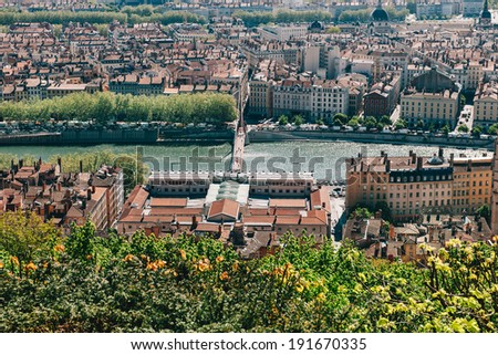 Lyon skyline and with brdige over Saone river, as seen from the Fourviere hill - stock photo