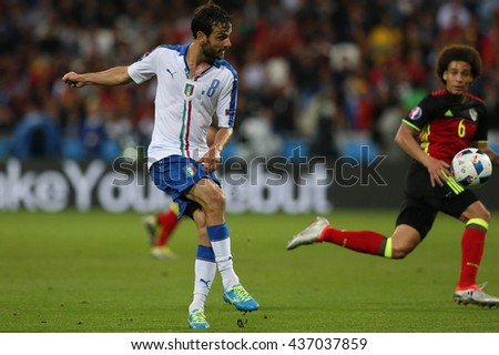 LYONE- FRANCE, J UNE 2016 : Parolo  in action during football match  of Euro 2016  in France between Belgium vs Italy at the 