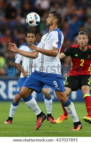 LYONE- FRANCE, J UNE 2016 : Pell  in action during football match  of Euro 2016  in France between Belgium vs Italy at the 