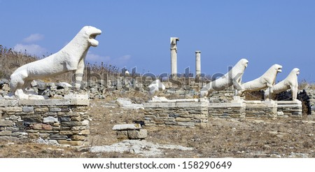 lyons in the ruins of delos, greece - stock photo