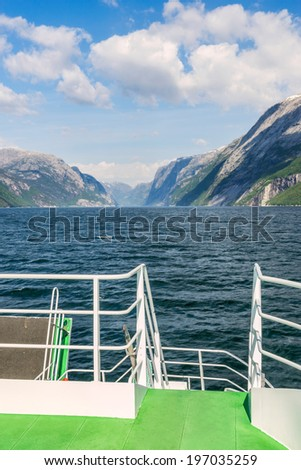 Lysefjord from the ferry from Stavanger - stock photo
