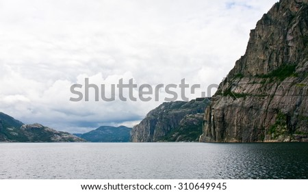 Lysefjord in Norway on a cloudy day - stock photo