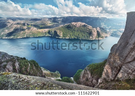 Lysefjord view from Preikestolen cliff in Norway.