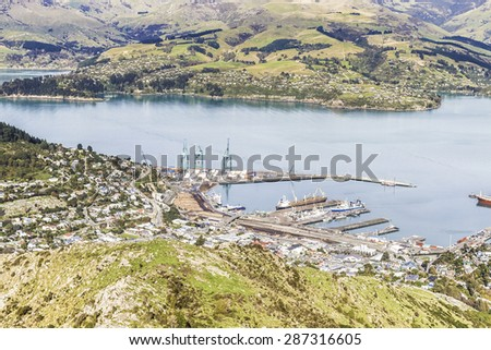 Lyttelton Port of Christchurch from Mount Pleasant Scenic view point, New Zealand - stock photo