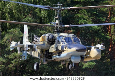 LYUBERTSY, MOSCOW REGION, RUSSIA - JULY 12, 2011: Kamov Ka-52 Alligator attack helicopter pictured in Lyubertsy. - stock photo