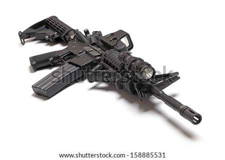 M4A1 (AR-15) carbine isolated on a white background - stock photo