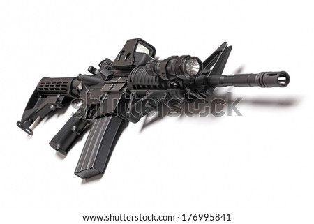 M4A1 (AR-15) carbine isolated on a white background, studio shot - stock photo