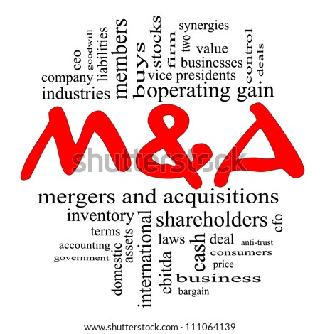 M & A (Mergers and Acquisitions) Word Cloud Concept in Red and Black letters with great terms such as deals, ebitda, ceo, shareholders, stock and more. - stock photo