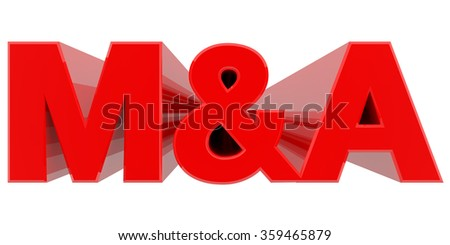 M&A word on white background 3d rendering - stock photo