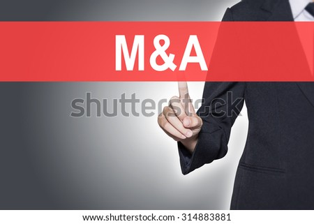 M and A (Merger and Acquisition) Business woman pressing hand word on virtual screen - stock photo
