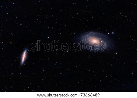 M81 and M82 galaxies in Ursa Major - stock photo