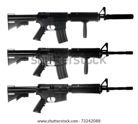 M4 assault rifles isolated on white ackground - stock photo