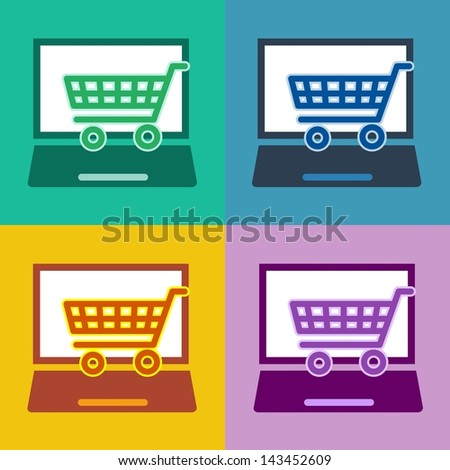 m-commerce flat design laptop icon for mobile online shopping and e-commerce with notebook and cart or trolley symbol in 4 different trend colors - stock photo