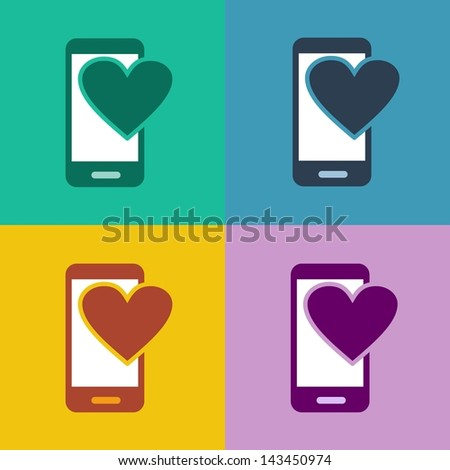 Mcommerce Flat Design Smartphone Icon Mobile Stock Illustration