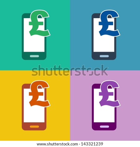m-commerce flat design smartphone icon for mobile shopping and payment with cellphone and pound sterling currency symbol in 4 different trend colors - stock photo