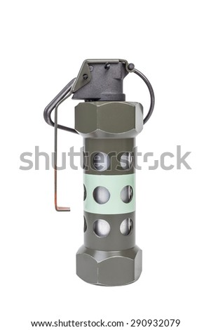 M84 Flash Bang model, weapon army,standard timed fuze hand grenade on white background - stock photo