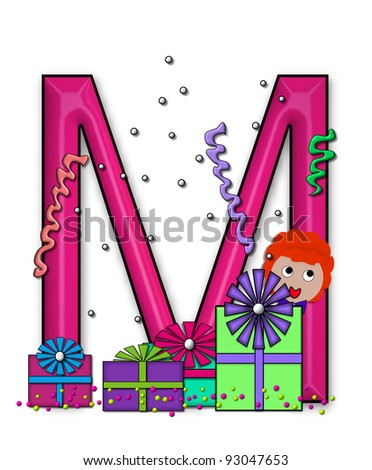 "M, in the alphabet set ""Birthday Letters"", is surrounded by colorfully wrapped presents complete with bows.  Woman hides behind presents and peeks out pretending surprise."