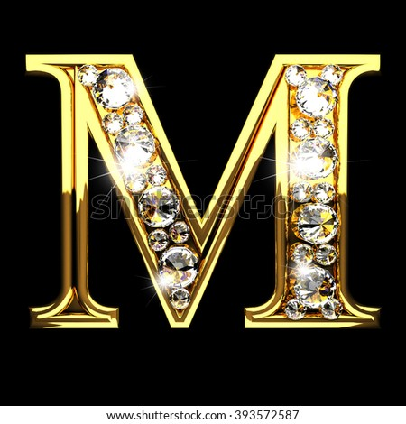 M Isolated Golden Letters With Diamonds On Black