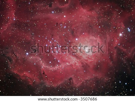 M8 Lagoon nebula in Sagittarius - stock photo