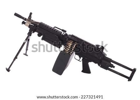 M249 machine gun isolated on white background - stock photo