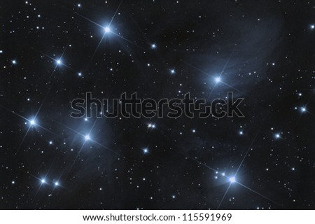 M45 pleiades open cluster - stock photo