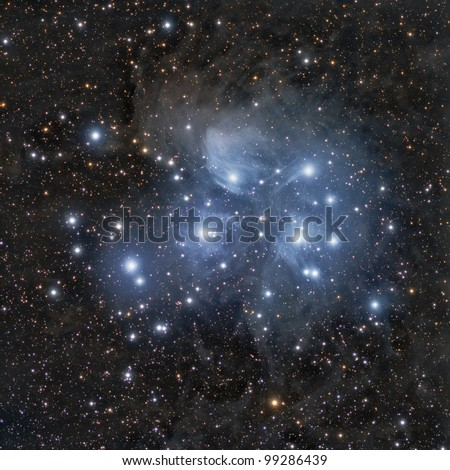 M45, Pleiades or The Seven Sisters - stock photo