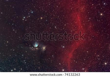 M78 Reflection Nebula and Barnard's Loop - stock photo