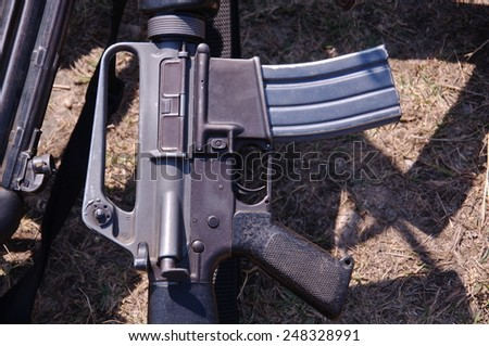 M 16 rifle weapons - stock photo