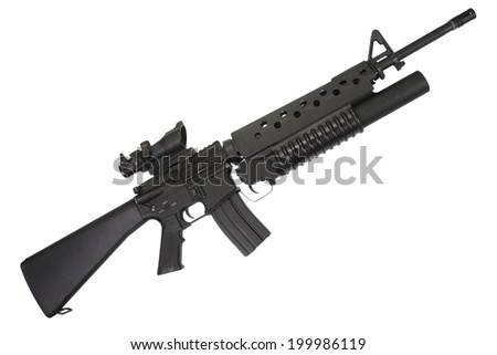 M16 rifle with an M203 grenade launcher - stock photo