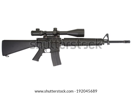 m16 rifle with telescopic sight isolated on a white background - stock photo