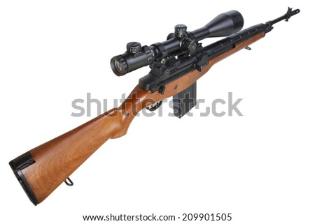 M14 sniper rifle isolated - stock photo