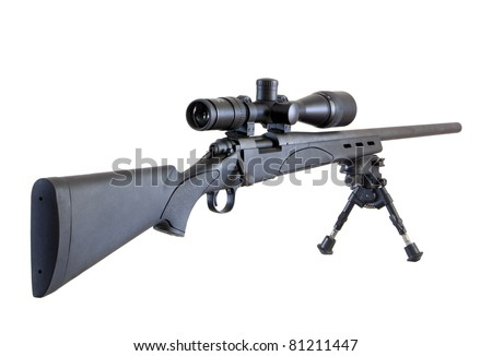 M24 Sniper rifle on bipod isolated on white background - stock photo